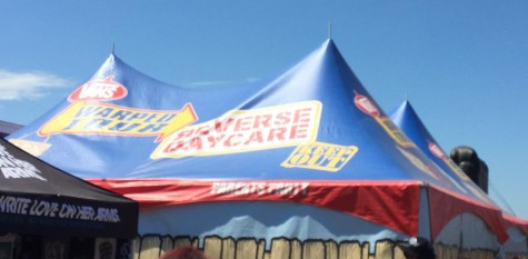 "Warped provides what it calls ""the ultimate perk for parents."" They offer a Reverse Daycare Tent which is ""an air-conditioned chill zone for parents who escort their teens to the concert but crave a break from the heat and music."""