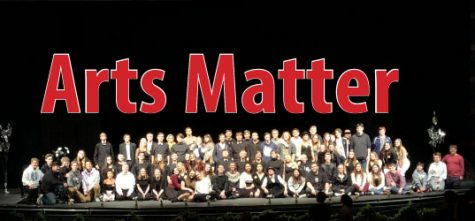Pictured: Students took to the stage in the PAC to rally for support for the Arts in St. Francis Area Schools.