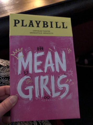 The playbill cover for the National Touring production of Mean Girls at the Orpheum Theatre in Minneapolis.