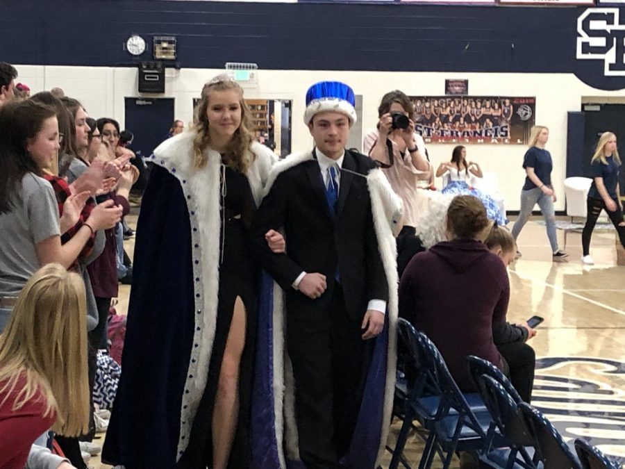 Snow Week Queen Daelyn O'Brien and King Zach Stewart pictured here in their Royal Walk.