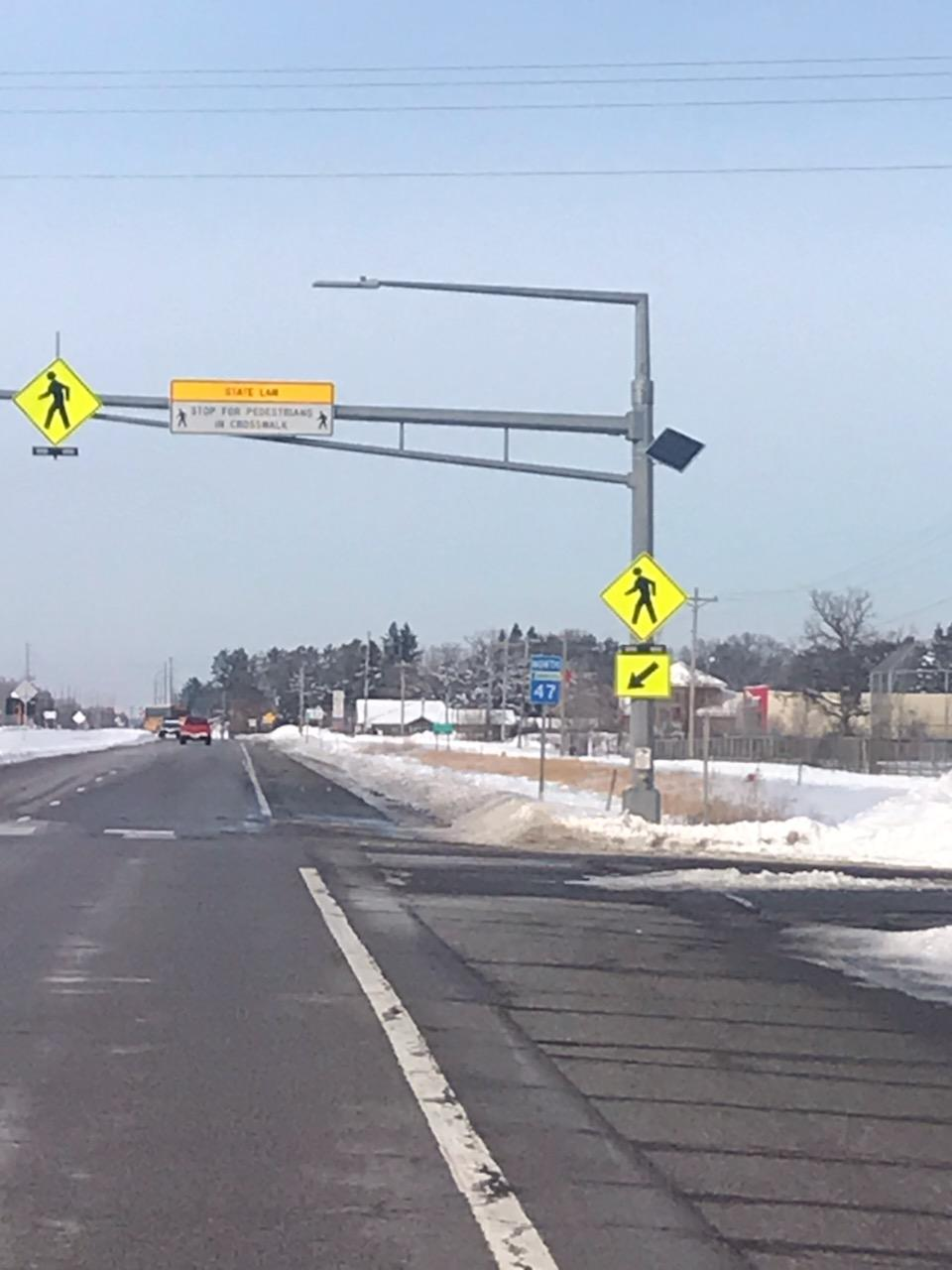 New crosswalk signs for Highway 47.
