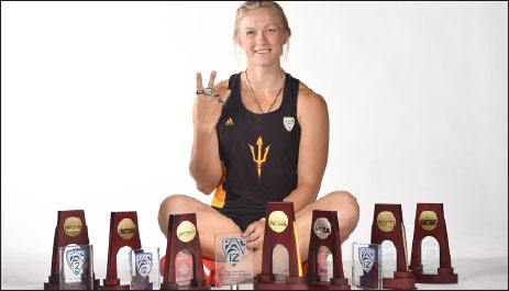 Pictured: Maggie Ewen with a number of her awards and trophies.