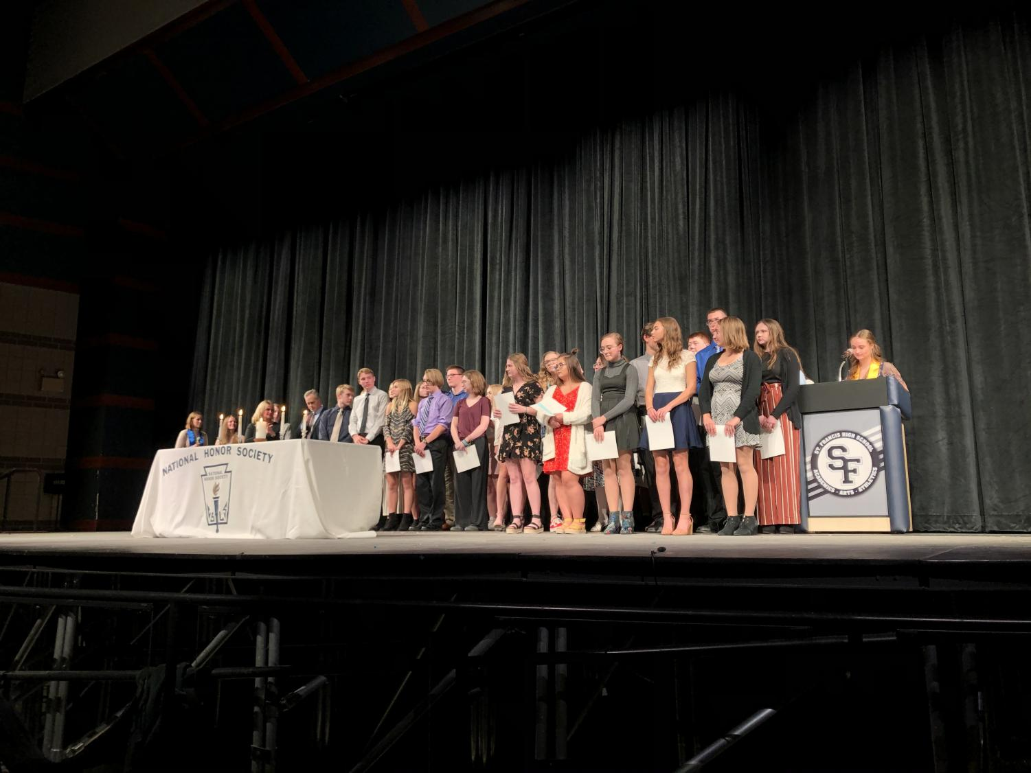 NHS inducted new students on Wednesday, October 30 in the Performing Arts Center.