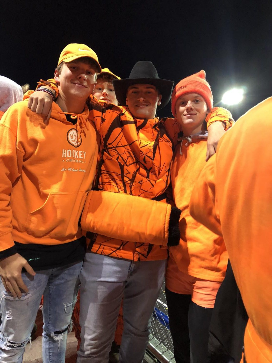 Superfans celebrated in the stands with their blaze out theme.