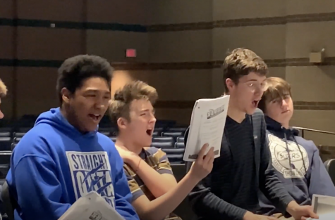 Students gathered for the first rehearsal of Newsies in February