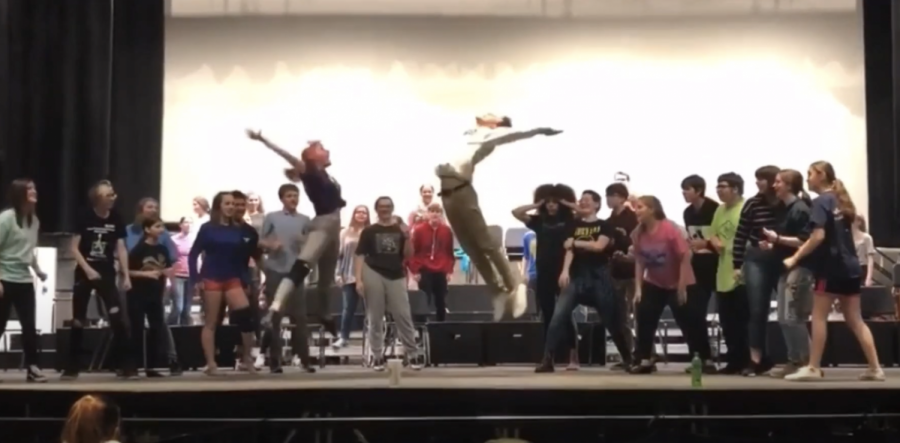 Riley Bifulk and Jake Ferguson improv-ed some moves during their dance off in the song